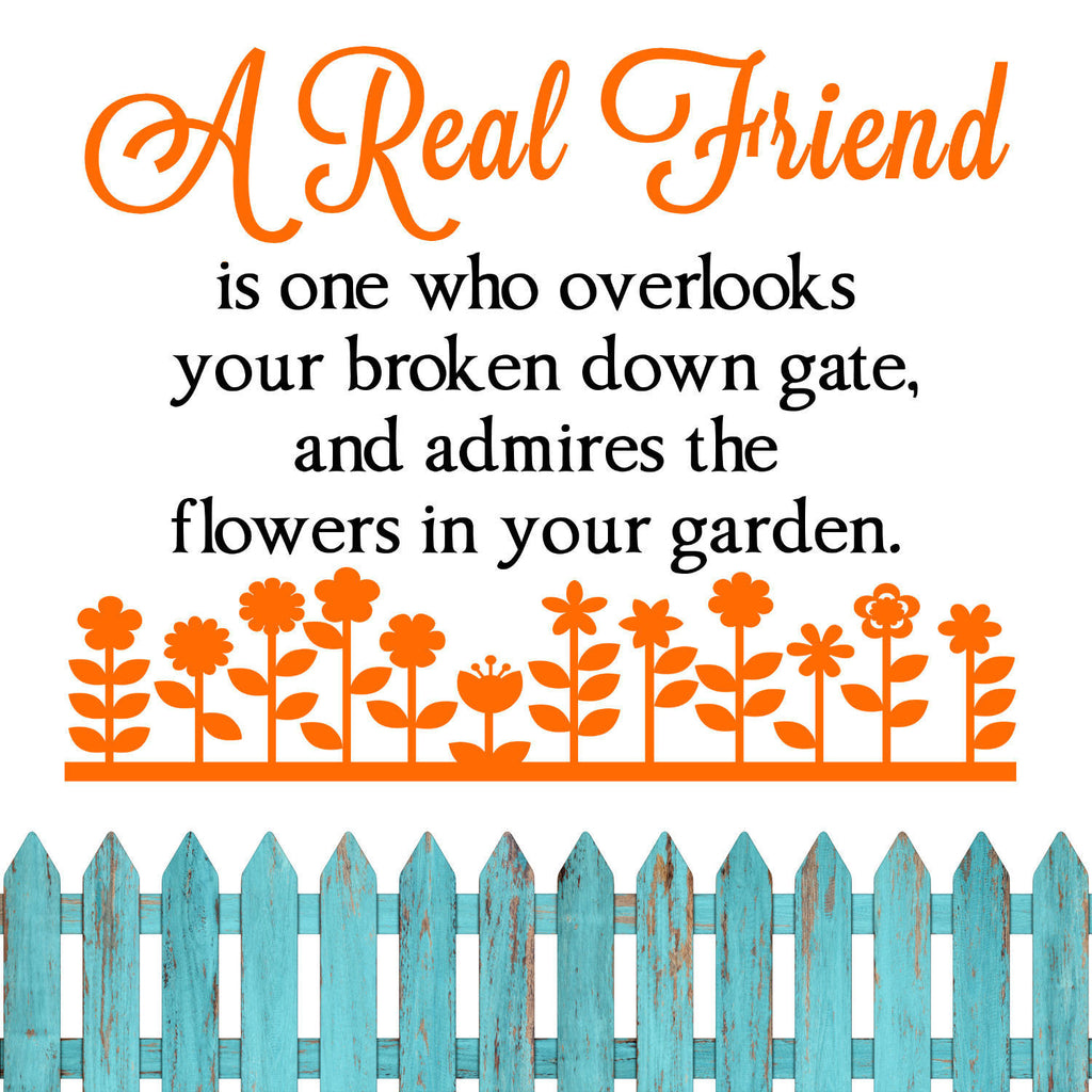 A Real Friend Two Color Vinyl Wall Quote Decal