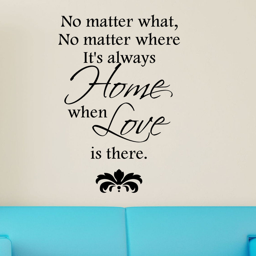 """No Matter What, No Matter Where It's Always Home"" Vinyl Wall Quote Decal"