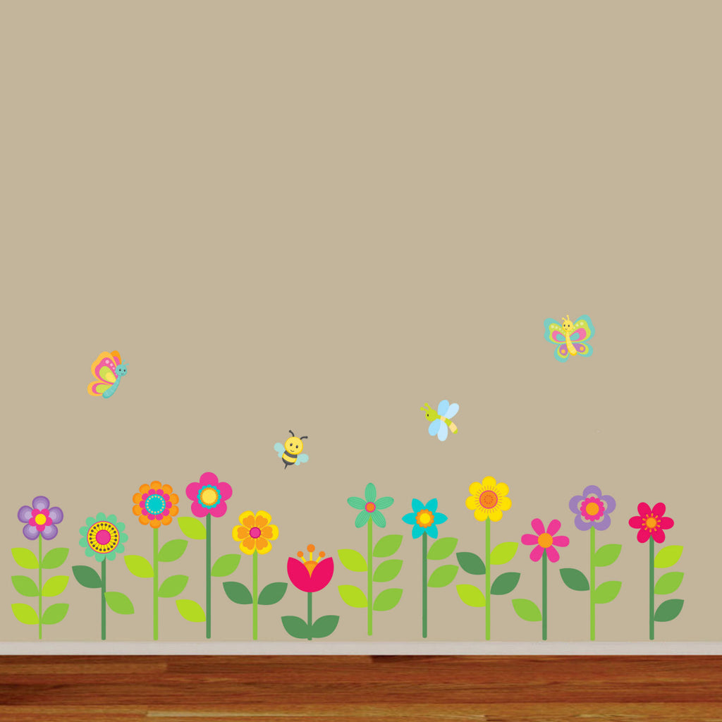 Spring Garden Flowers Fabric Wall Decal, 100% Woven Fabric Decal, UL Greenguard Certified