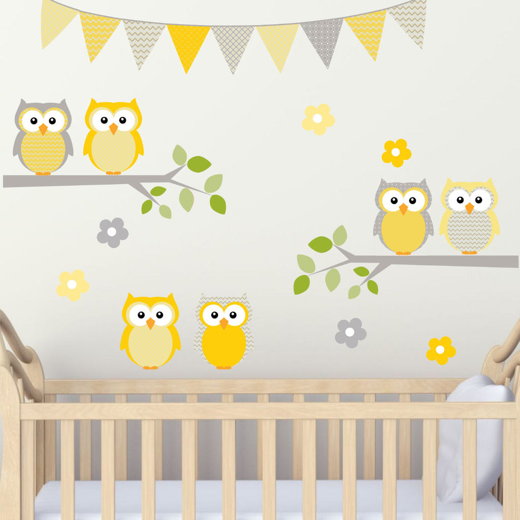 Owl on Branches With Flags Yellows and Grey Set, Woven Ultra Thin Fabric UL Certified for Low Emmissions