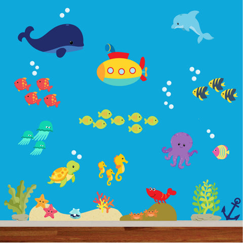 Under the Sea Deep Blue Ocean 100% Woven Fabric Printed Wall Decal UL Certified for Low Emmissions