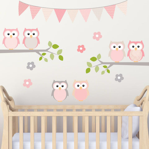 Nursery Room Owls on Branch Pink and Grey 100% Woven Fabric Adhesive Back, UL Certified Low Emmissions