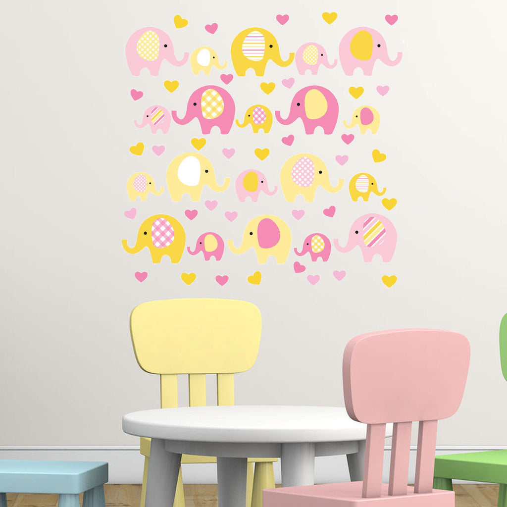 Elephant Yellow and Pink with Hearts Fabric Adhesive Wall Decal UL Green Certified for Low Chemical Emmissions