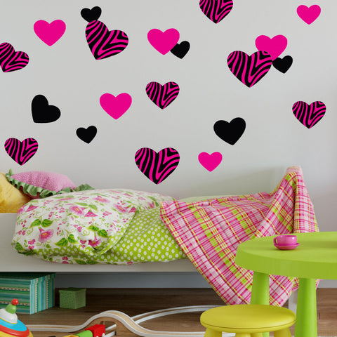 Zebra Hearts Hot Pink Black Wall Decal Stickers Woven Fabric, UL Certified For Low Chemical Emmissions