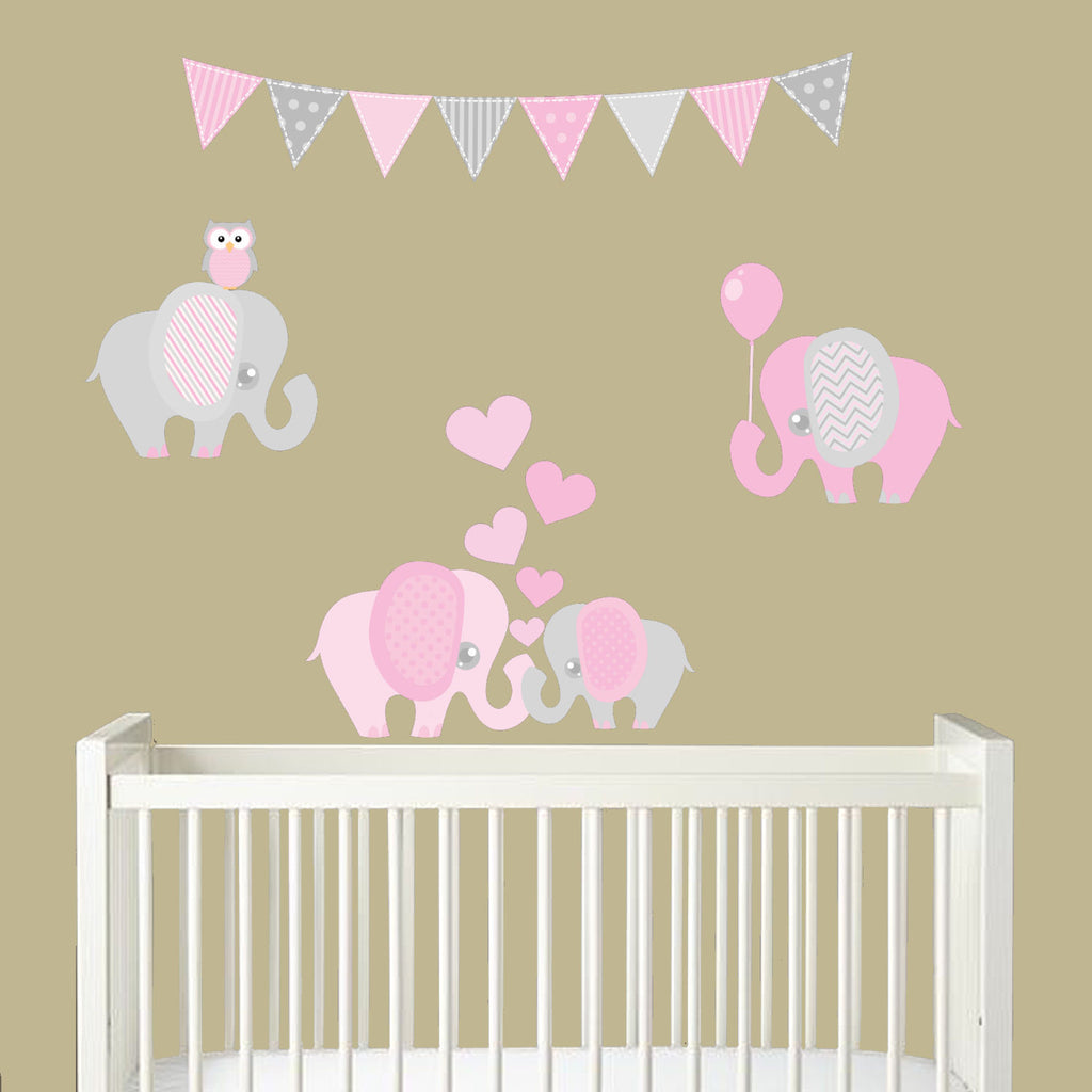 Elephant Balloon Heart Fabric Wall Decal Sticker Set Nursery Room Décor