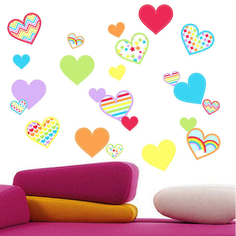 Rainbow and Colored Hearts Wall Decal Stickers Woven Fabric, UL Ceritfied For Low Chemical Emmissions