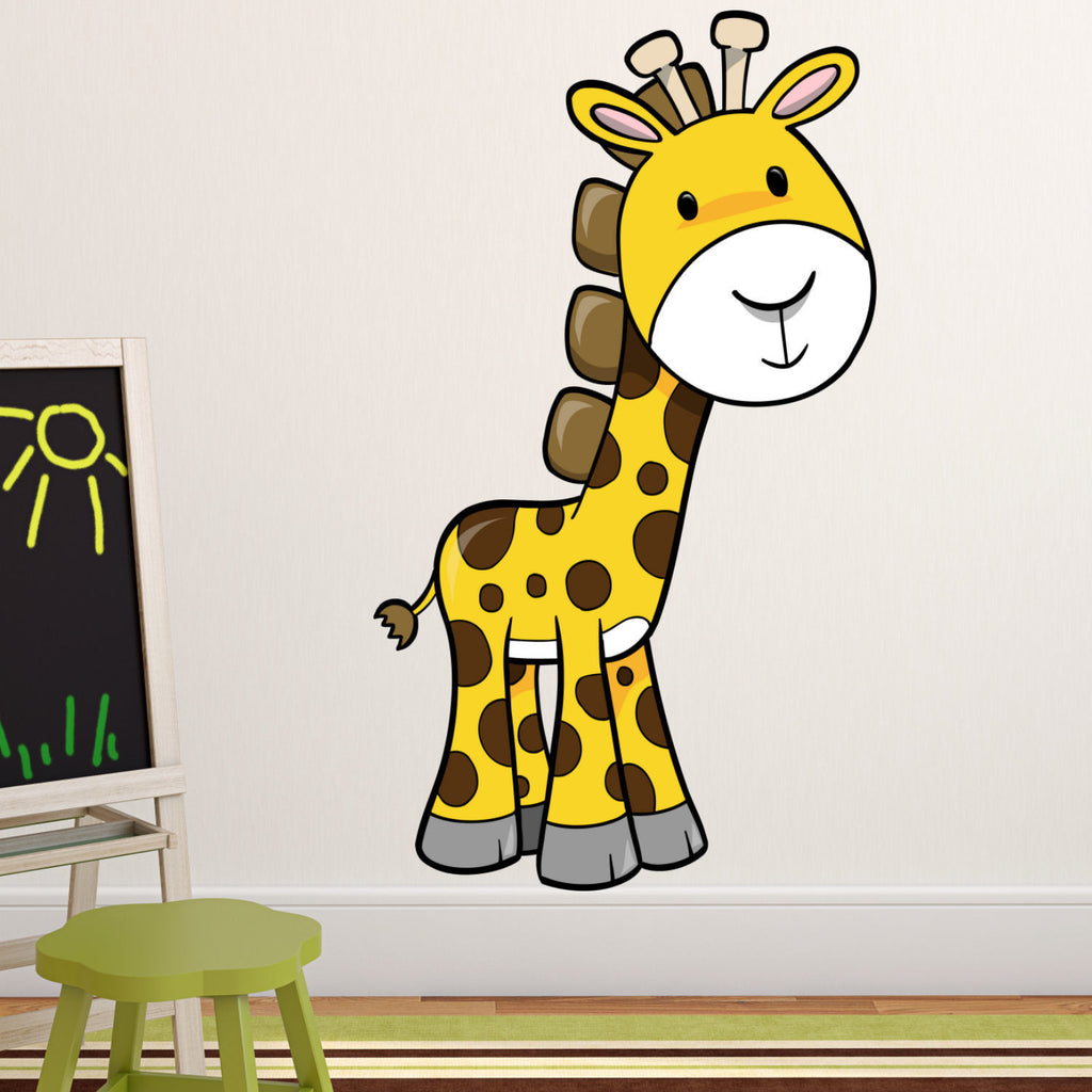 Giraffe Color Printed Woven Fabric 4' Wall Decal