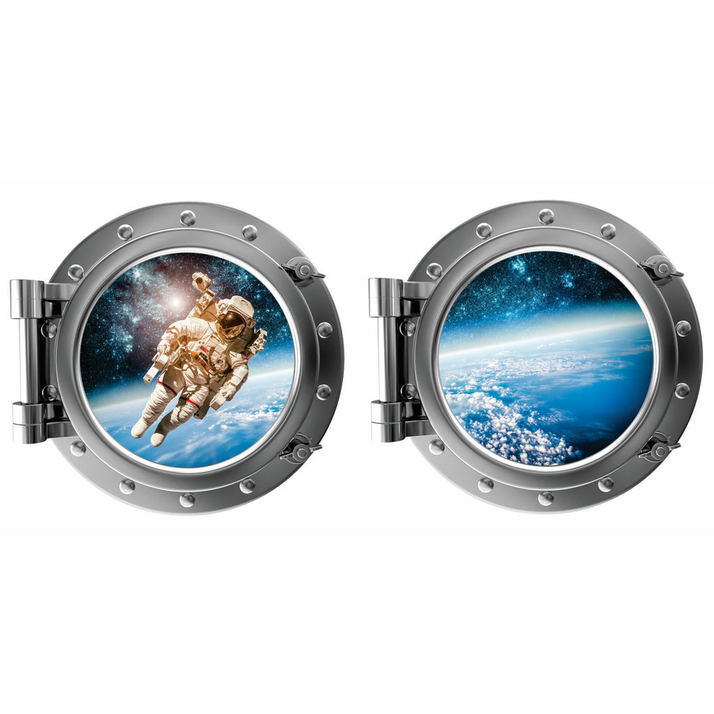 Astronaut and Planet Earth Porthole Fabric Wall Decal