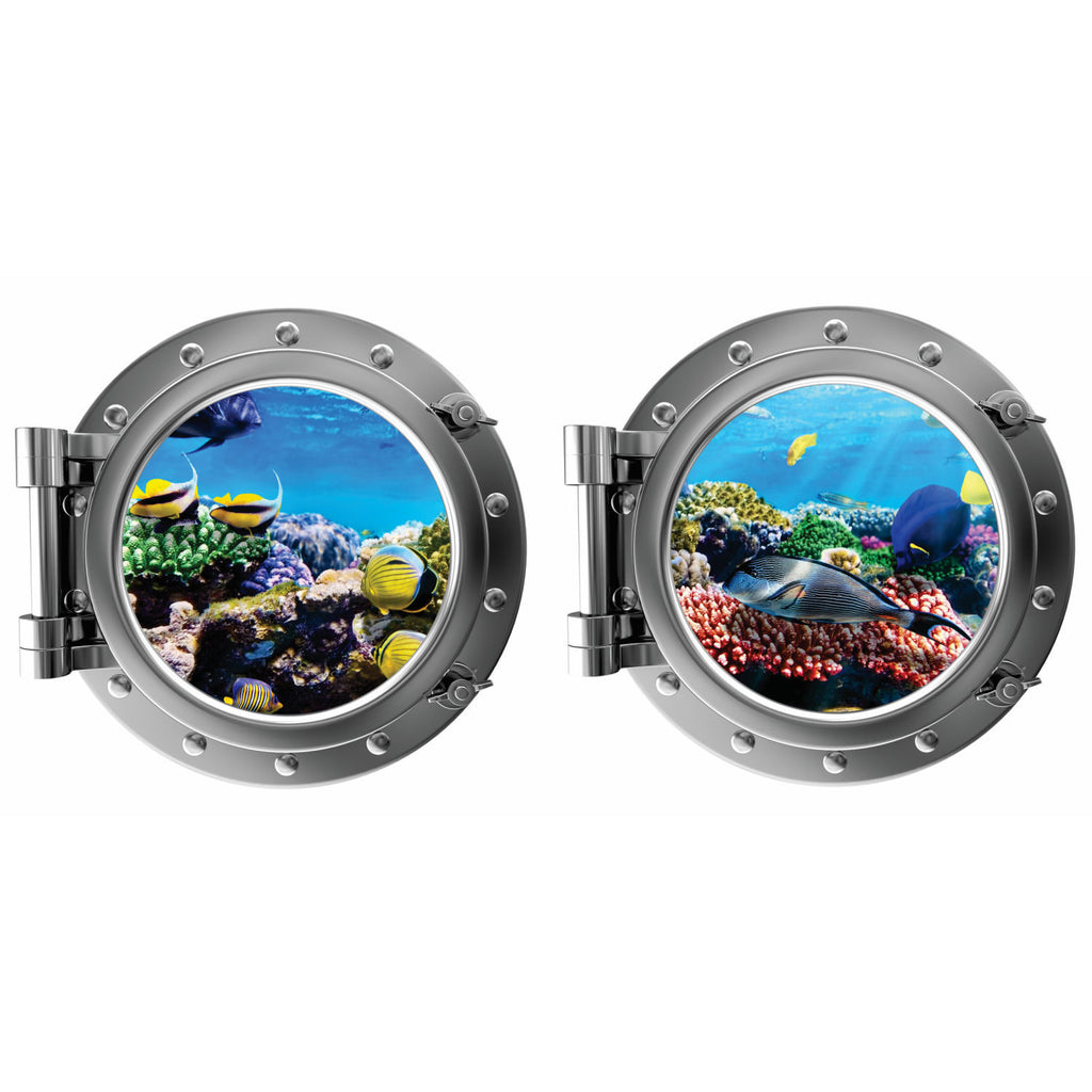 Colorful Fish Underwater with Coral Porthole Fabric Wall Decal