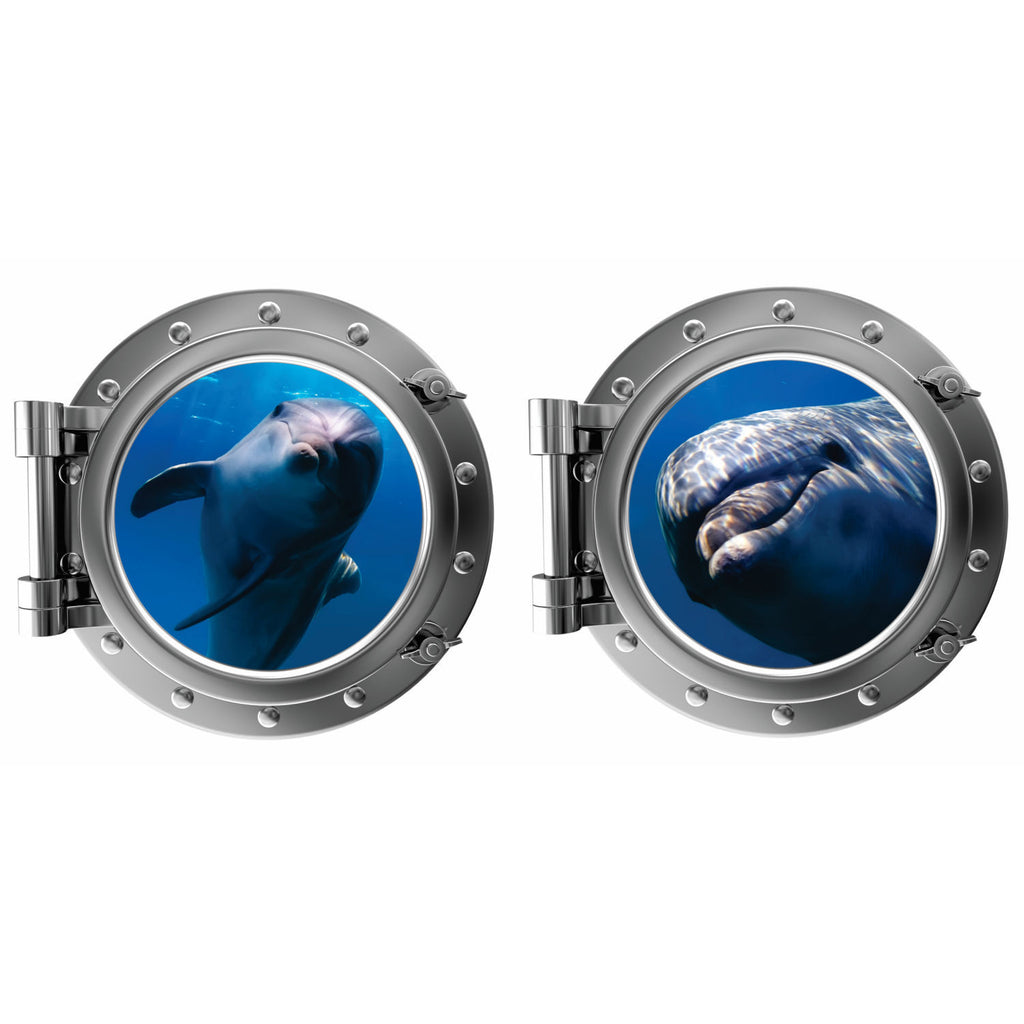 Friendly Dolphins Porthole Fabric Wall Decal