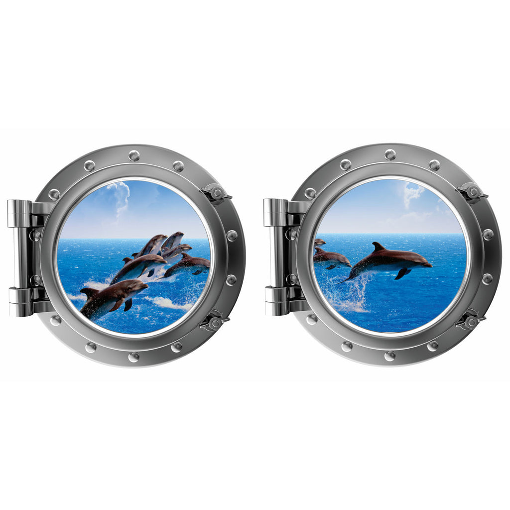 Jumping Dophins with Clouds Porthole Fabric Wall Decal