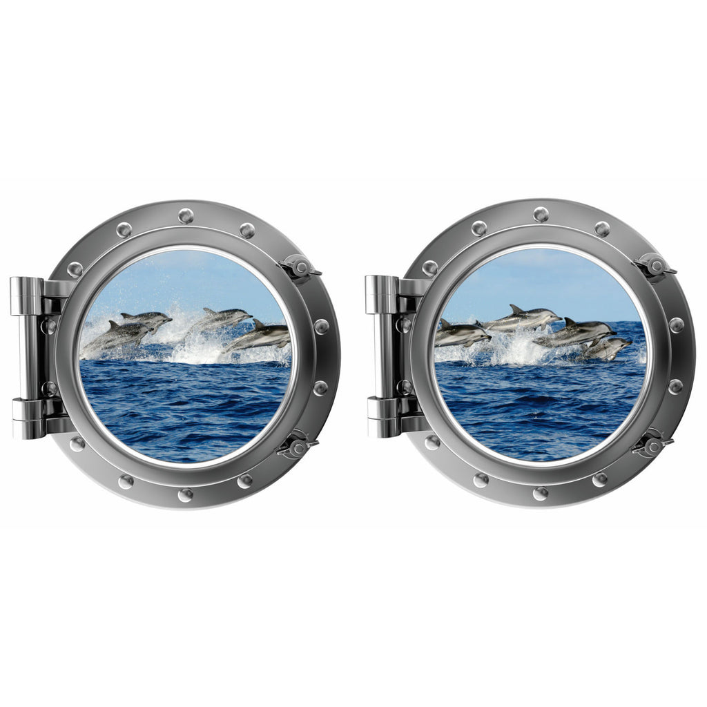 Jumping Dophins Porthole Fabric Wall Decal