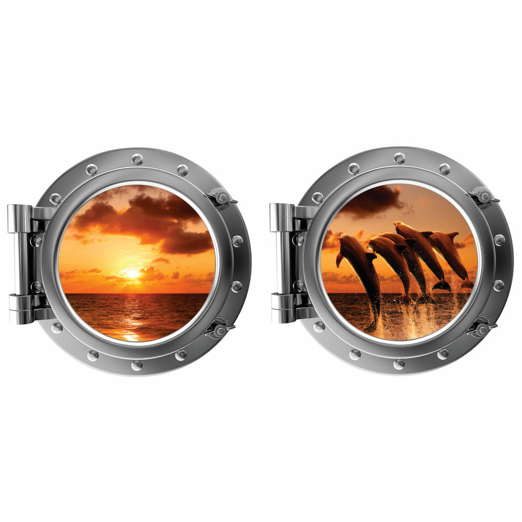 Jumping Dophins at Sunset Porthole Fabric Wall Decal