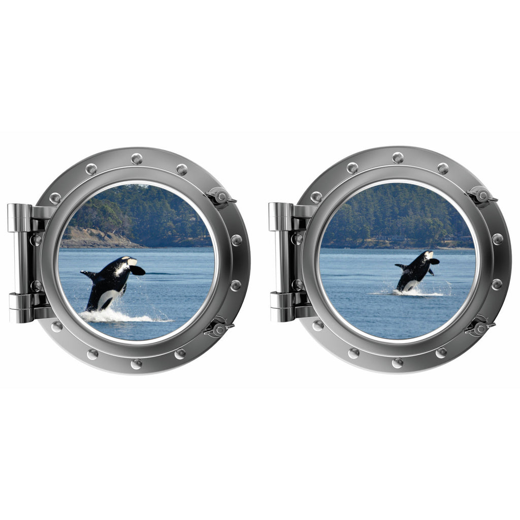 Killer Whales Breaching Porthole Fabric Wall Decal