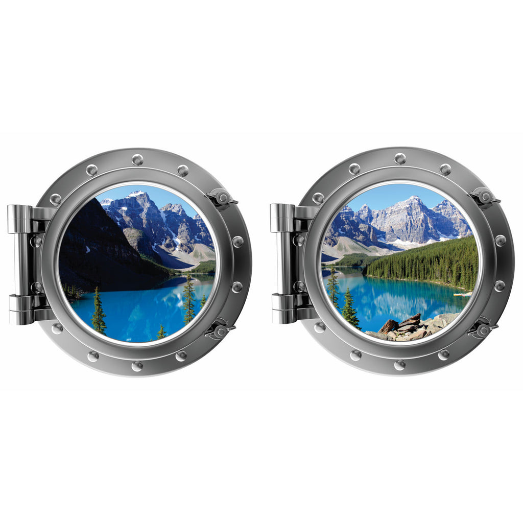 Mountains and Lake Moraine Lake Canada Porthole Fabric Wall Decal