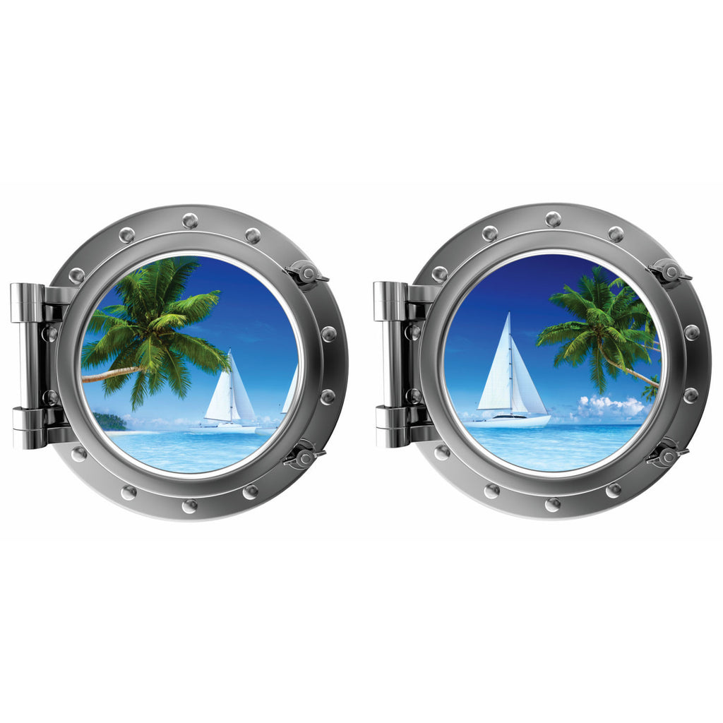 Tropical Island Beach and Sailboat Porthole Fabric Wall Decal