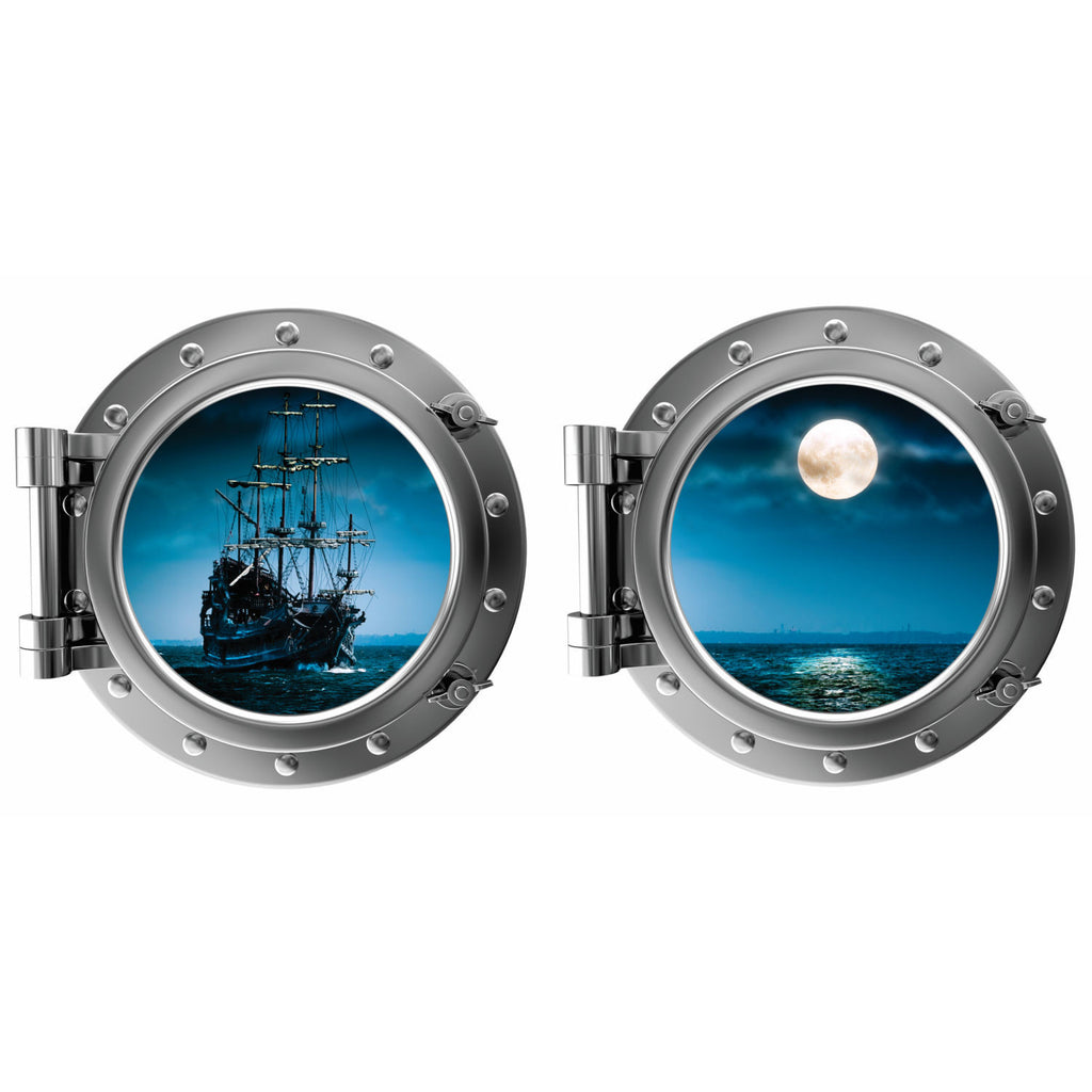 Pirate Ship and Full Moon Porthole Fabric Wall Decal