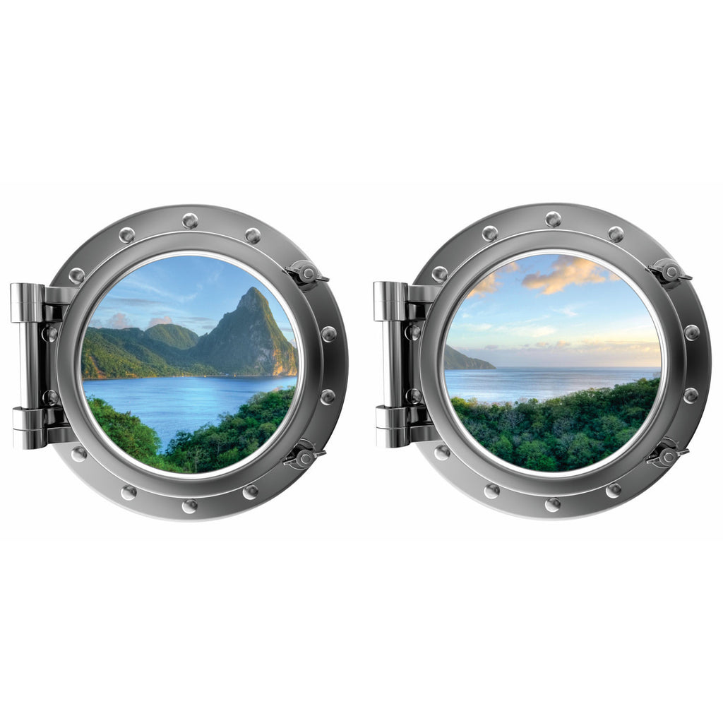 Mountain Water Island View St. Lucia Caribbean Porthole Fabric Wall Decal