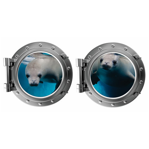 Pair of Seals Porthole Fabric Wall Decal