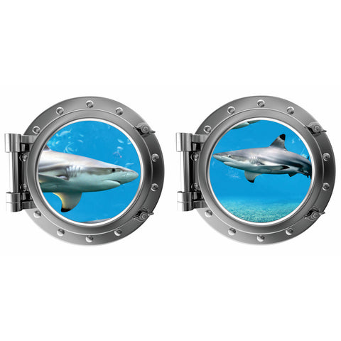 Sharks Porthole Fabric Wall Decal