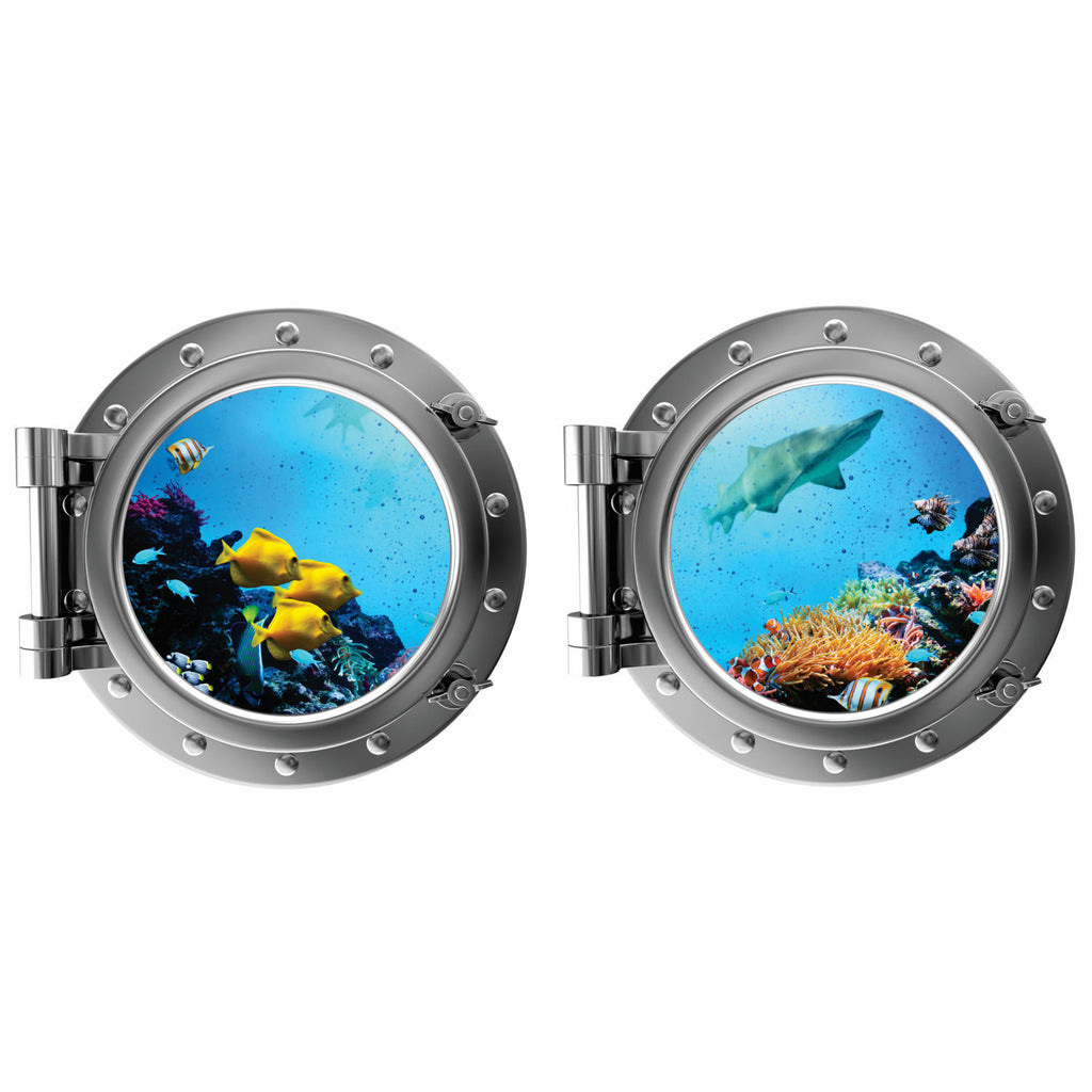 Tropical Fish and Shark with Coral Porthole Fabric Wall Decal