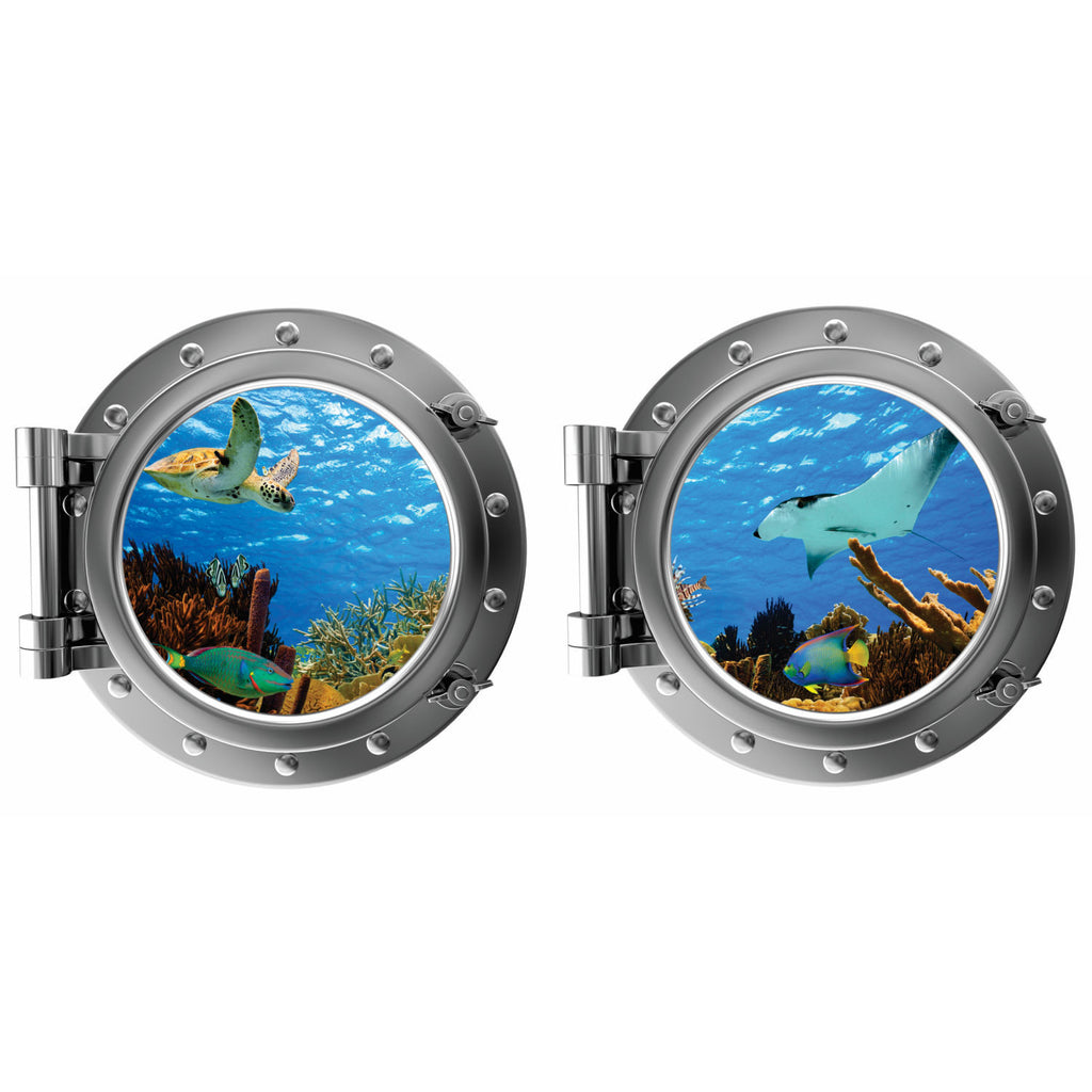 Turtle and Stingray Porthole Fabric Wall Decal