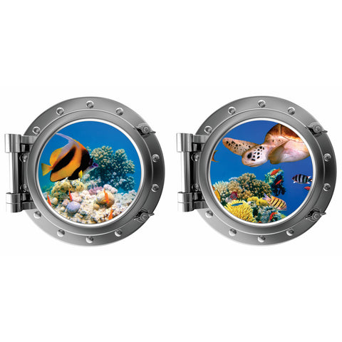 Under the Sea With Colorful Fish and Turtle Porthole Fabric Wall Decal