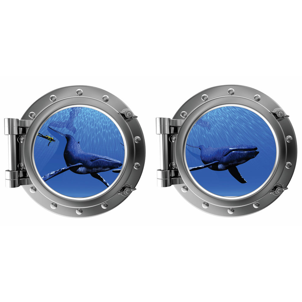Humpbacks with Diver Porthole Fabric Wall Decal