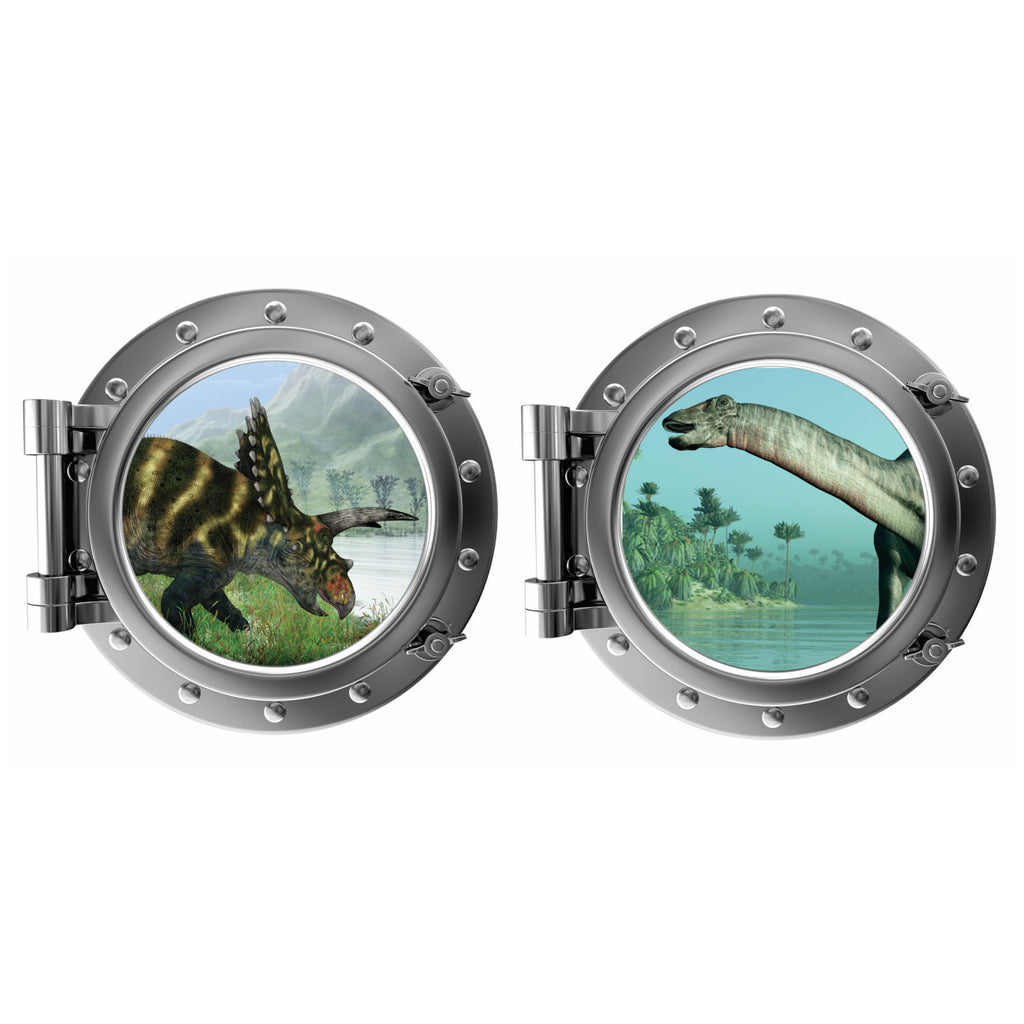 Dinosaur Porthole Fabric Wall Decal