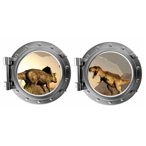 Dinaosur Fight with T rex Porthole Fabric Wall Decal