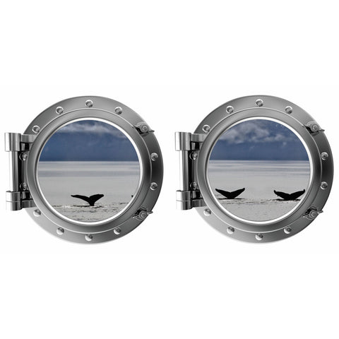 Whale Tails Mountain Background Porthole Fabric Wall Decal