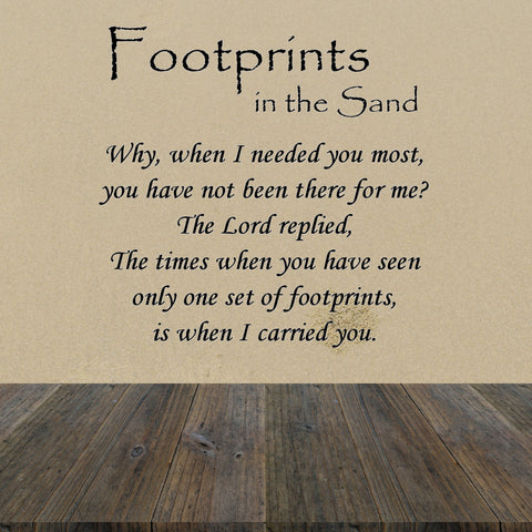 Footprints in the Sand Wall Quote Decal