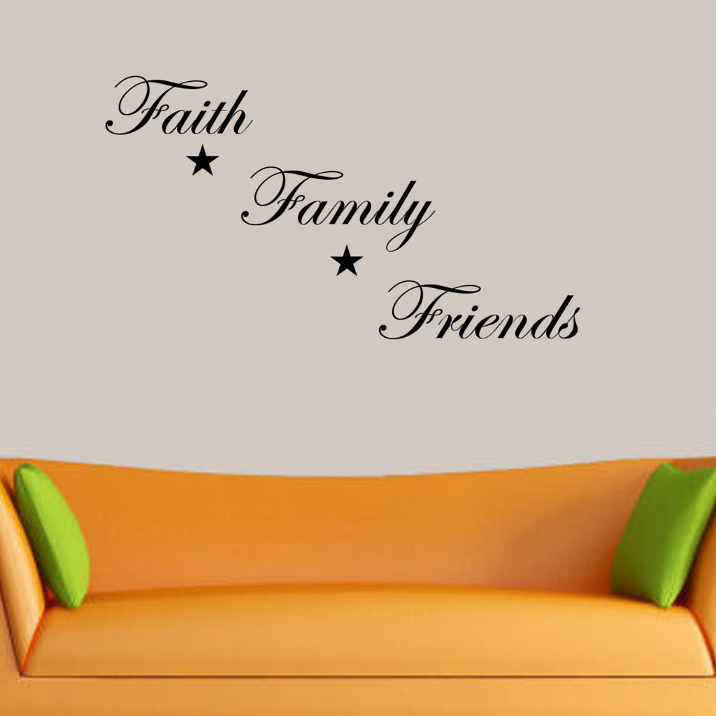 Faith, Family, Friends Wall Decal Quote