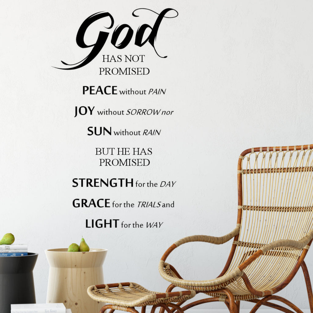 God Has Not Promised.....Wall Decal Quote
