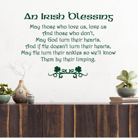An Irish Blessing.....Wall Decal Quote