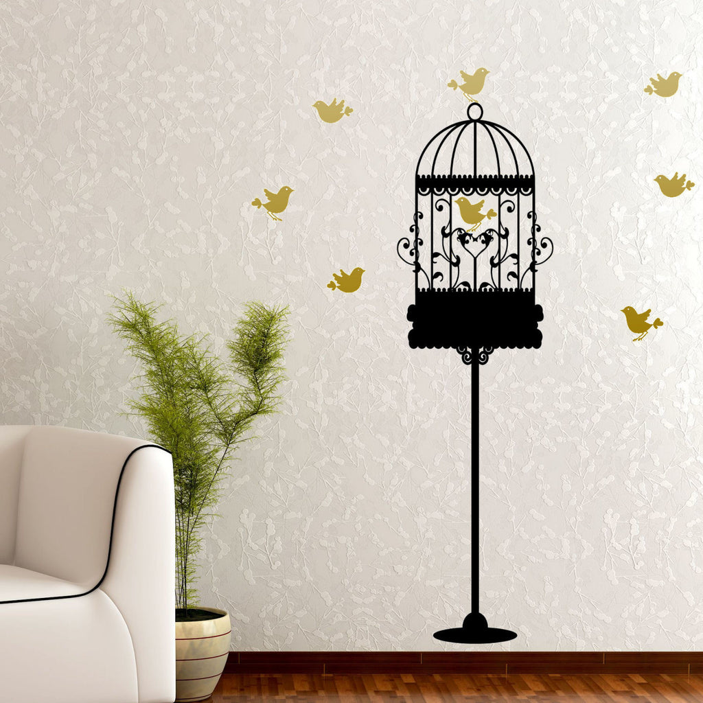 Birdcage Stand with Colored Birds Wall Graphic