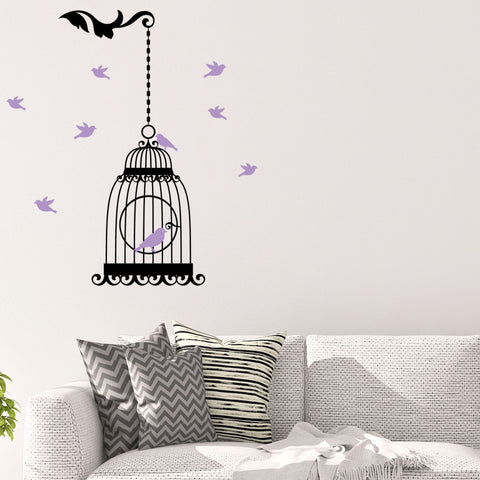 Hanging Birdcage with Colored Birds Wall Graphic
