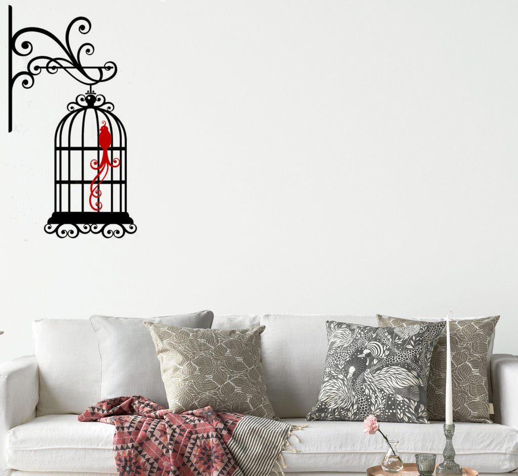 Birdcage With Ornimental Hook and Colored Birds Wall Graphic
