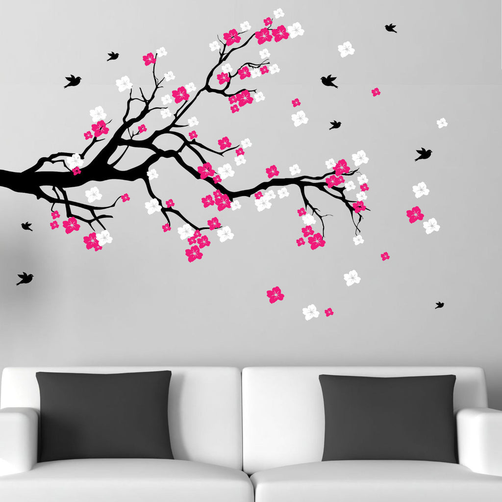 Cherry Blossom Branch with Birds Vinyl Wall Art Decal
