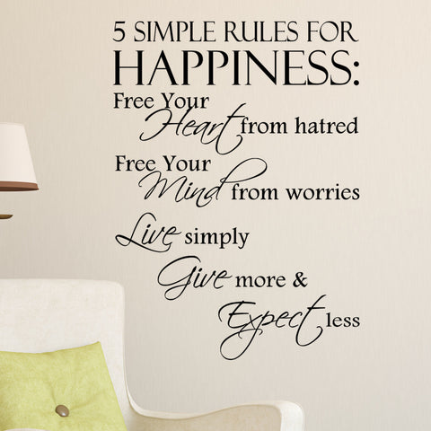 """5 Simple Rules For Happiness"" Vinyl Wall Art Decal Quote"