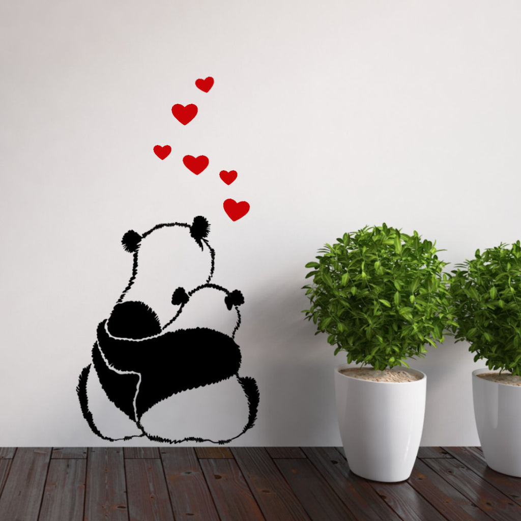 Panda Love with Hearts Vinyl Wall Decal