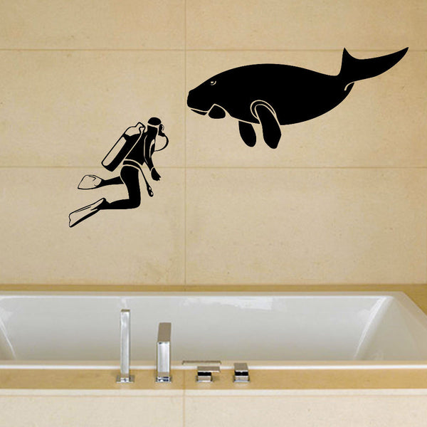 Manatee and Diver Wall Decal Sticker