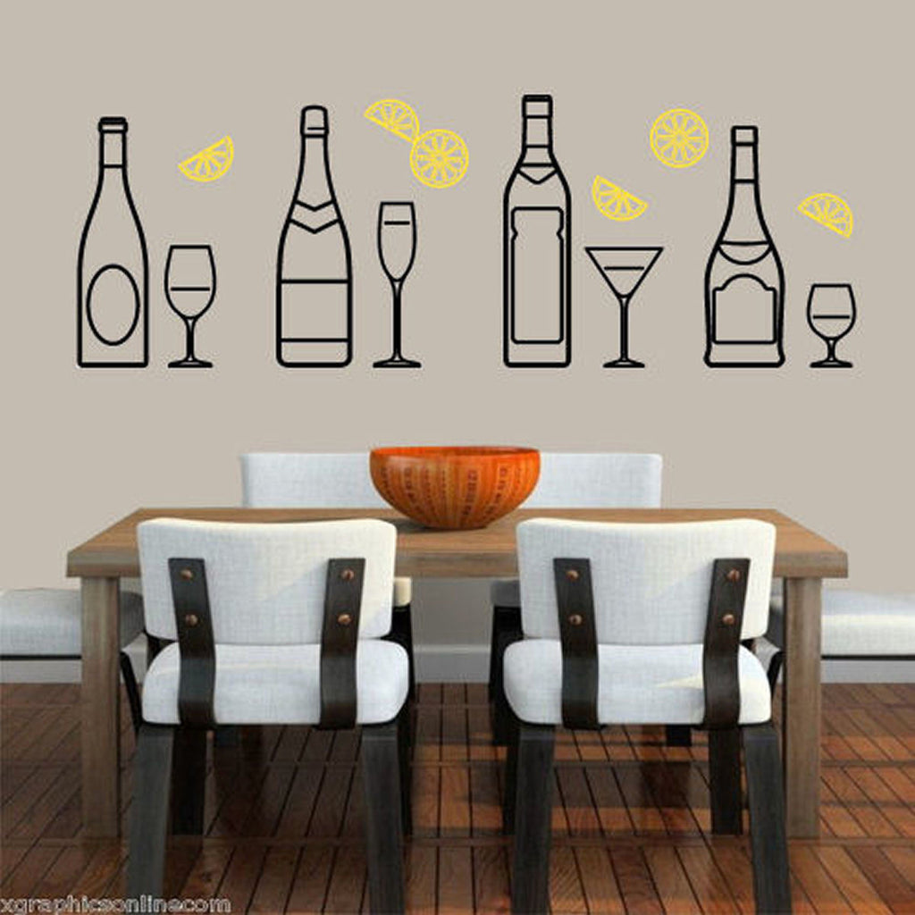 Bottles and Glasses Wall Decal - 2 Color