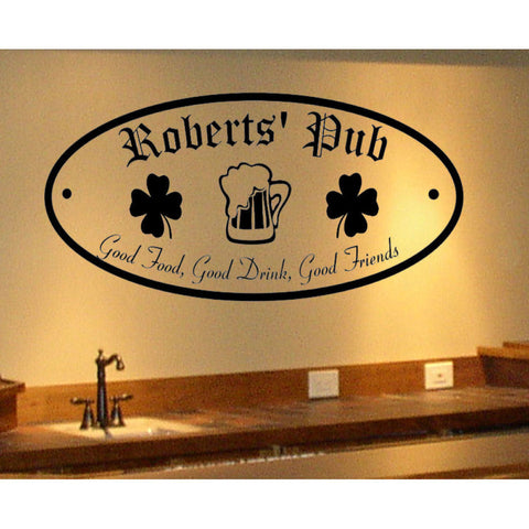 Oval Irish Pub Sign Personalized Wall Decal