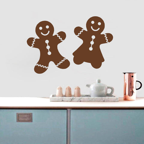 Gingerbread Cookie Boy and Girl Wall Decal Sticker Set