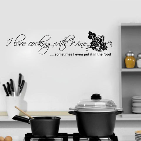 I Love Cooking with Wine Wall Decal Sticker