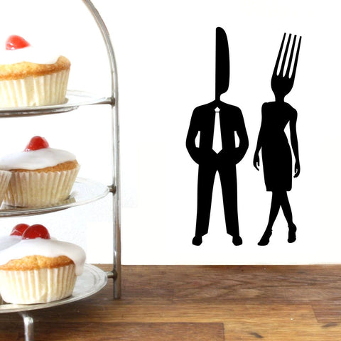 Knife and Fork Couple Wall Decal Sticker Set