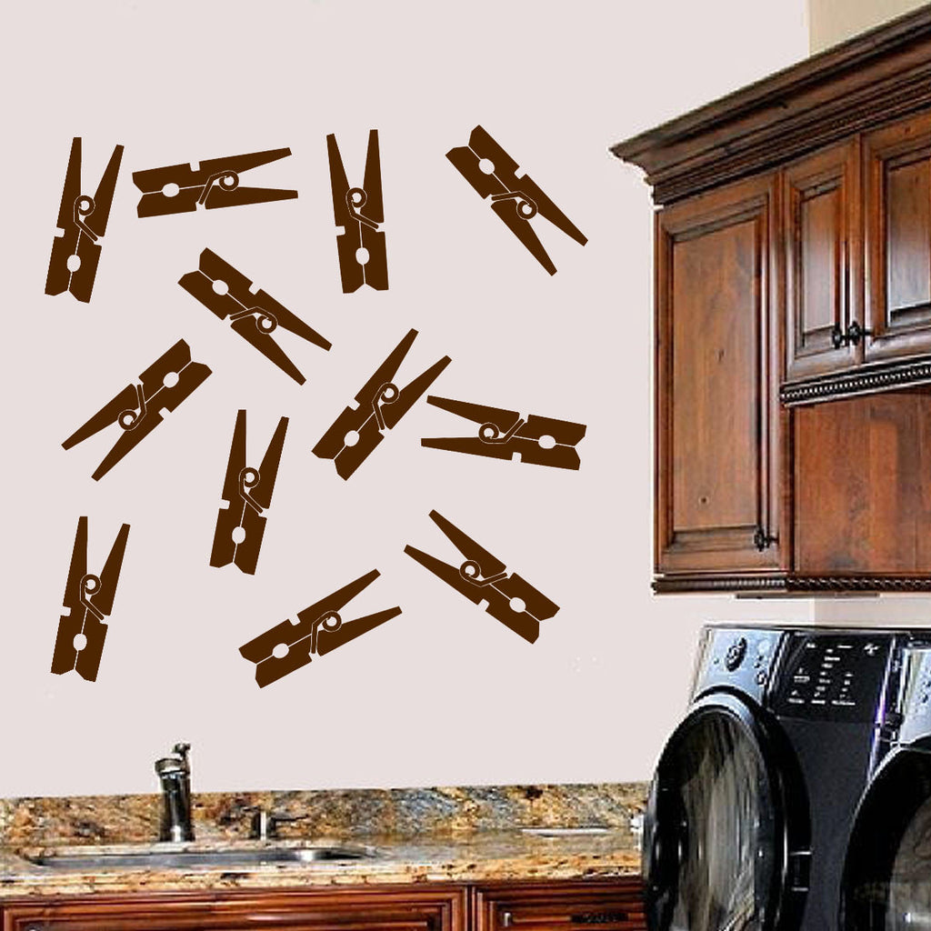 Clothes Pins Laundry Room Wall Decal Sticker