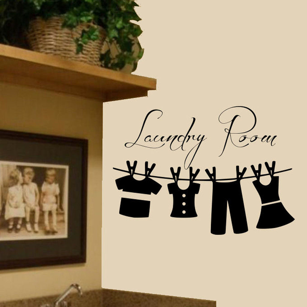 Laundry Room with Hanging Clothes Wall Decal Sticker