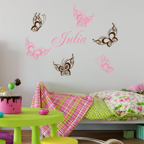 Butterfly Personalized Wall Decal Sticker Set of 6